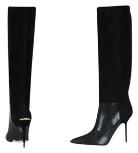Burberry Suede Leather Knee High Black Boots