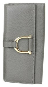 Gucci Greenwich Stirrup Leather Gray Clutch