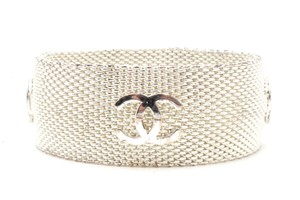 Chanel #10594 Multi CC logo silver Mesh bracelet cuff bangle wide chain