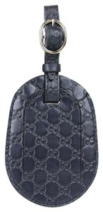 Gucci GUCCI Guccissima Leather Travel Luggage ID Tag Navy 295259 4009