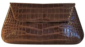 Judith Leiber Warm Chocolate Brown Alligator with Optional Crystal Embellished Chain Clutch