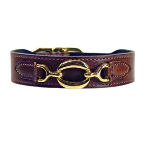 Hartman & Rose Luxury Italian Cat or Dog Collar 22k Gold Circle Applique 10-12