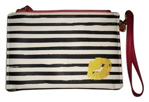 Francesca's Clutch Striped Lips Wristlet in Navy And White
