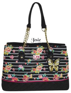 Betsey Johnson Triple Entry Satchel in BLACK floral