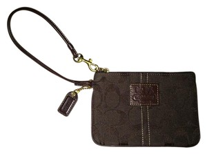 Coach Canvas Wristlet in Brown
