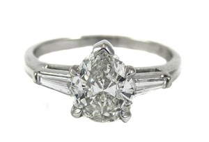Gia Certified 1 Carat Pear Shape Diamond Platinum Ring