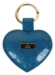 Gucci GUCCI Guccissima Patent Leather Heart Key Ring Blue 199915 4618