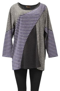 Pleats Collection Thin Knit Striped Accents Plus Size Sweater