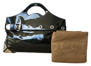Gucci Patent Leather Satchel Hand Tote in Black