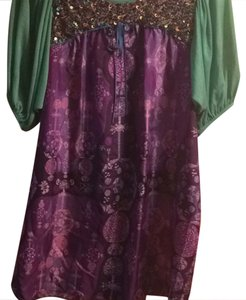Custo Barcelona short dress purple, green, pink, gold on Tradesy
