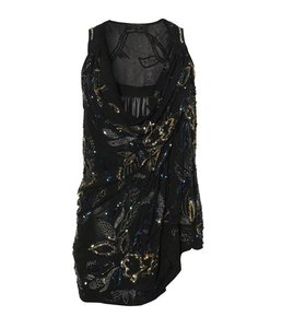 AllSaints Sequin Silk Date Night Draped Top Black
