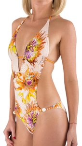 Just Cavalli New Just Cavalli Monokini One Piece Swimsuit Orange & Flower Print S-M