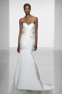 Amsale Silk White Magnolia with Ribbon At Waist Blake A652 Formal Wedding Dress Size 10 (M)