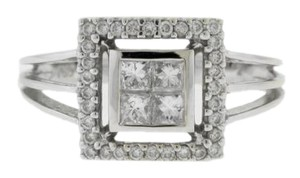 Other Princess Halo Engagement Ring- 18k White Gold