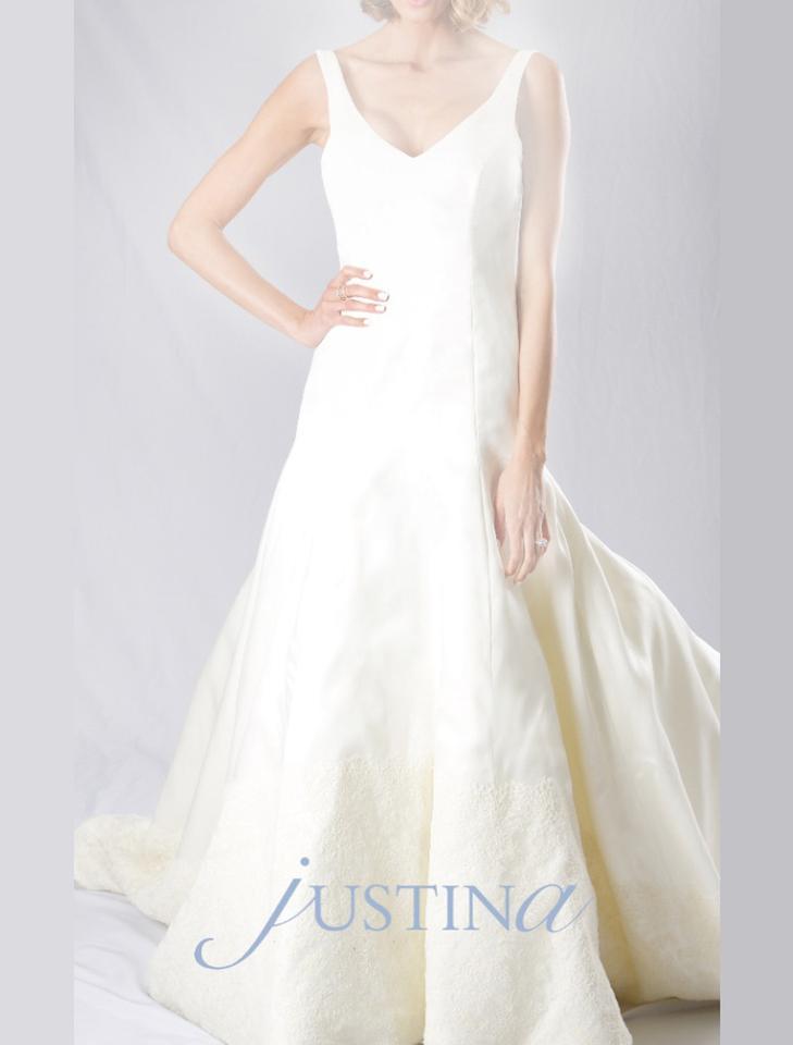 f0014945ef Light Ivory Italian Silk Stain Faced Organza and French Lace Olivia Formal Wedding  Dress Size 8 ...