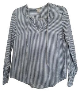 J.Crew Striped Longsleeve Peasant V-neck Top Blue, White