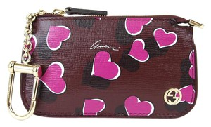Gucci GUCCI Heartbeat Leather Clip Key Case Pouch Burgundy 233183 7309