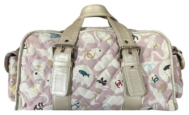 Item - 2 Way Animal Line Cross Body Pink White Fabric Diaper Bag