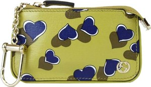 Gucci GUCCI Heartbeat Leather Clip Key Case Pouch Yellow 233183 7309