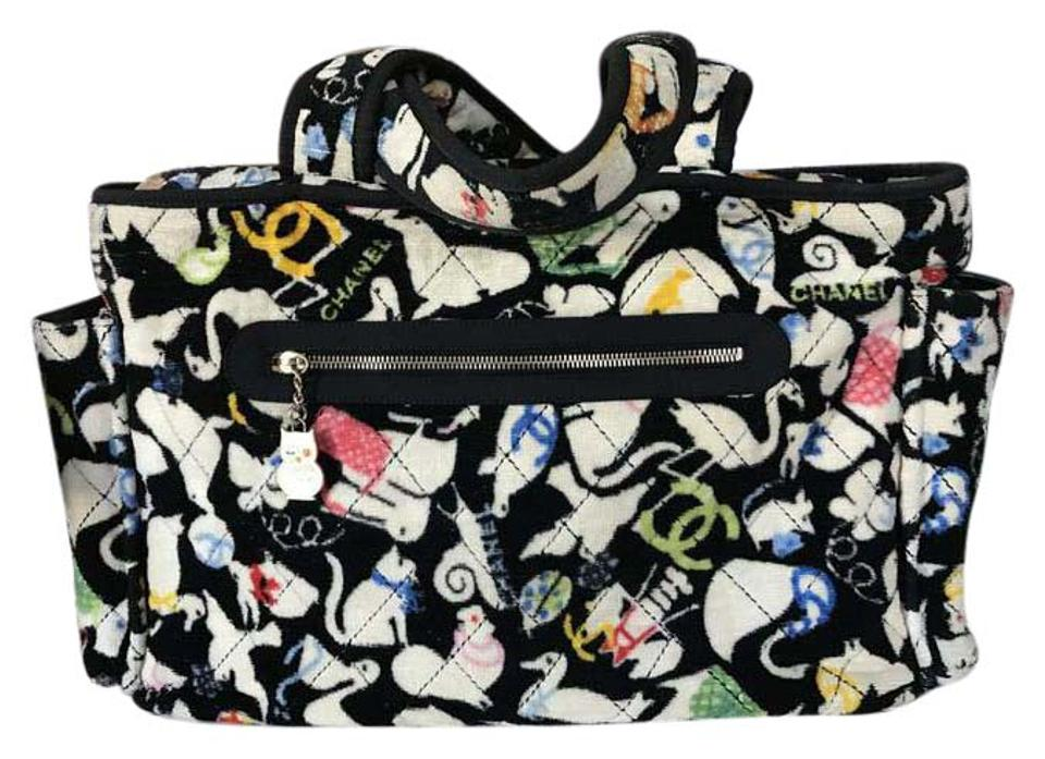 58405cf8aa1f Chanel Animal Line Terry Quilted Black White Cloth Diaper Bag - Tradesy