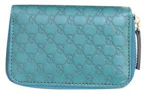 Gucci Microguccissima Leather Zip Around Key Holder Case Blue 322214 4407