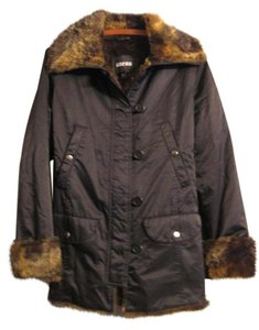 Guess Soft Nylon Faux Fur Pea Coat