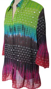 Maggie Barnes Tunic Pleated 3/4 Sleeve Shirt Top Multi-color