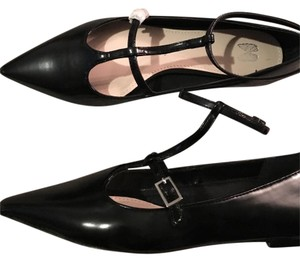 Victoria's Secret Patent Leather Mary Jane T Strap Pointy Toe Black Flats