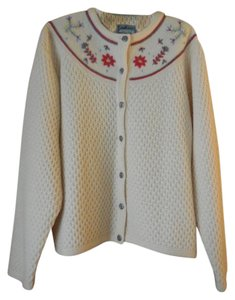Pendleton Wool Embroidered Flowers Waffle Weave Pewter Buttons Button Down Cardigan