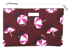 Gucci Canvas Parasols Cosmetic Case Red Clutch