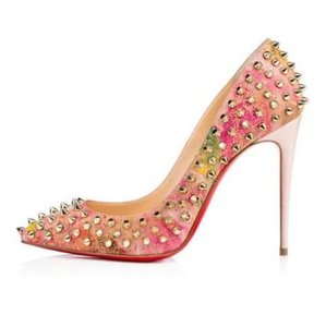 Christian Louboutin Heels Spikes Follies Cork Multi Pumps