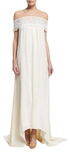 Self-portrait Off-the-shoulder Chiffon Lace-trim Gown Off White Included: Scarf Wedding Dress