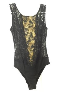 Urban Outfitters Sheer Open Top Black & Gold