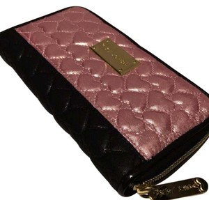 Betsey Johnson Pink and black heart wallet