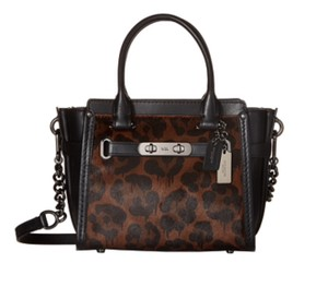 Coach Swagger 21 Swagger Animal Print Wild Beast Satchel in Black