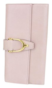 Gucci GUCCI Spur Detail Continental Clutch Leather Wallet Pink 277717 6812
