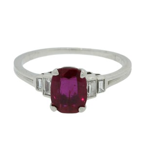Tiffany & Co. Tiffany & Co. Platinum 1.46ct Cushion Unheated Heat Burma Ruby Ring