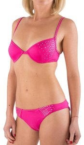 Just Cavalli Brand New Cavalli PInk Embellished Push-Up Bikini Set