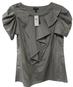 Ann Taylor Sleeveless Ruffle New With Tag Top Gray