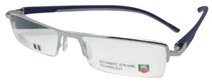 TAG Heuer New TAG HEUER Eyeglasses TH 0822 004 53-17 142 Brushed Silver & Blue