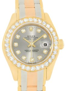 Rolex Rolex Pearlmaster 18K Gold Tridor Diamond Watch 80298 Box Papers