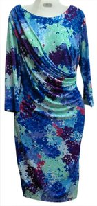 Coldwater Creek Wrap Multi Colored Faux Wrap Dress