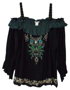 Krista Lee Applique Off Beaded Top black and multi