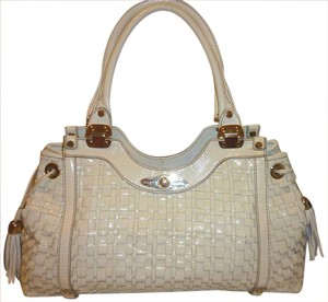 Elliott Lucca Refurbished Woven Patent Leather White Multi Pocket Lined Hobo Bag
