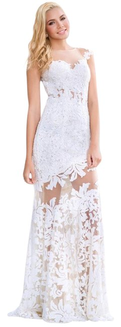 Preload https://img-static.tradesy.com/item/20768513/jovani-white-cap-sleeve-lace-embellished-floral-with-sheer-illusion-neckline-and-open-back-21226-lon-0-2-650-650.jpg