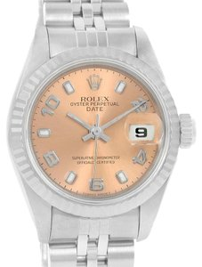 Rolex Rolex Datejust Ladies Steel White Gold Salmon Dial Watch 69174