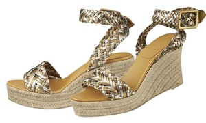Hermès Silver/Gold/Bronze Wedges