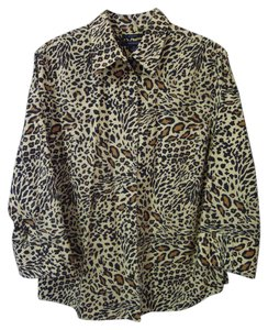 Westbound Button Front No Wrinkle Animal Print Top brown & black multi