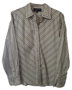 Jones New York Button Front Striped Top silver gray and white