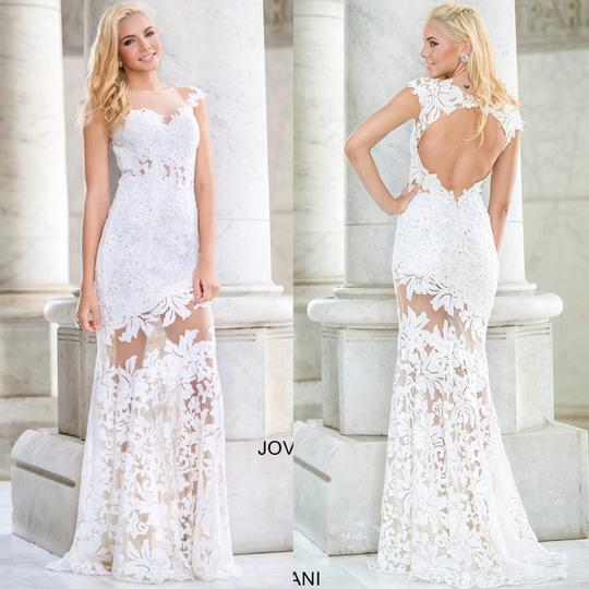 Preload https://img-static.tradesy.com/item/20768614/jovani-white-lace-cap-sleeve-embellished-floral-with-sheer-illusion-neckline-and-open-back-21226-sex-0-0-540-540.jpg